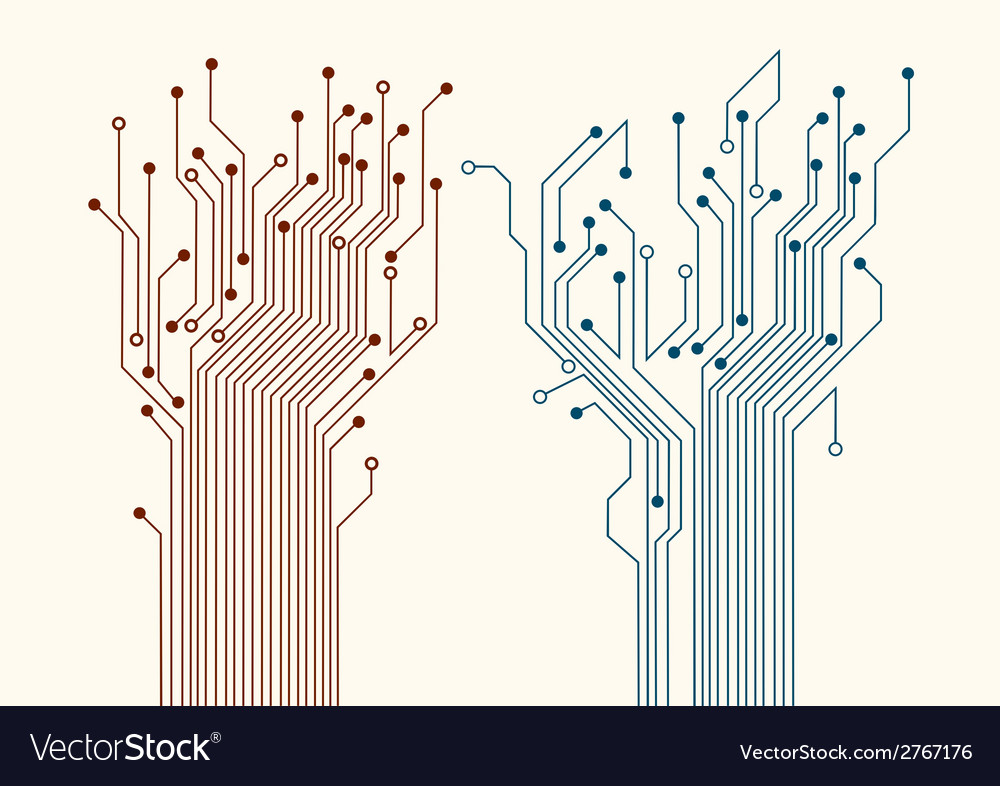 Two abstract circuit trees vector | Price: 1 Credit (USD $1)
