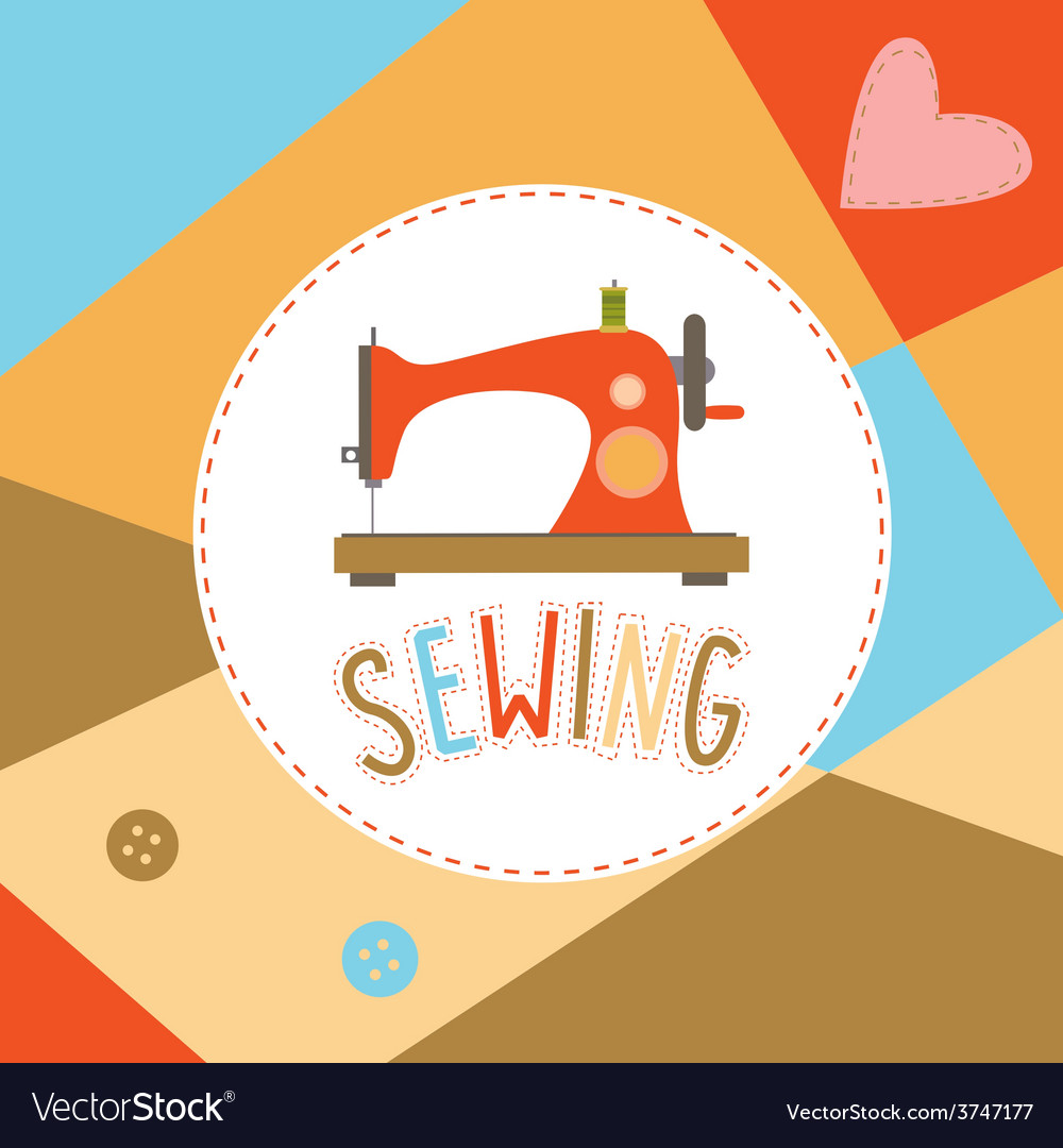 Design with sewing machine and buttons vector | Price: 1 Credit (USD $1)