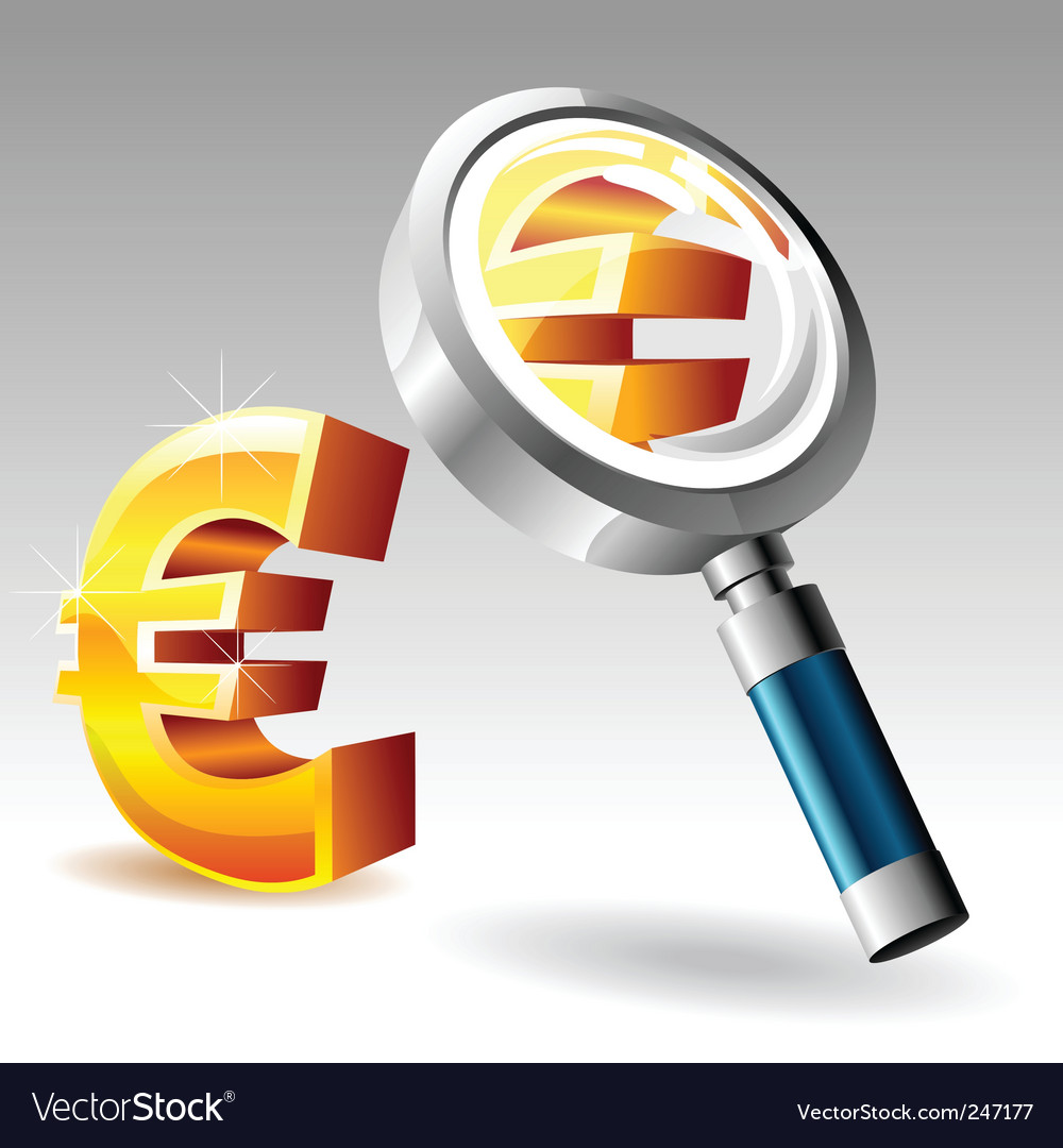 Euro with magnify glass vector | Price: 1 Credit (USD $1)