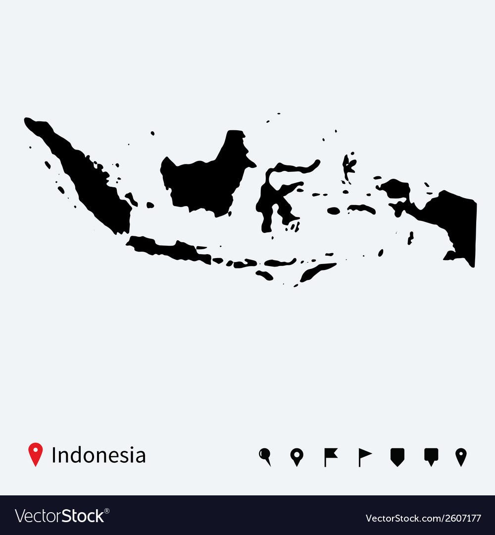 High detailed map of indonesia with navigation vector | Price: 1 Credit (USD $1)