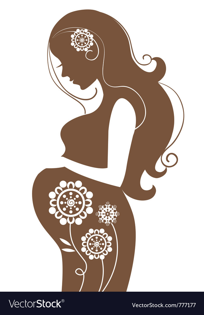 Pregnant woman in flowers vector | Price: 1 Credit (USD $1)