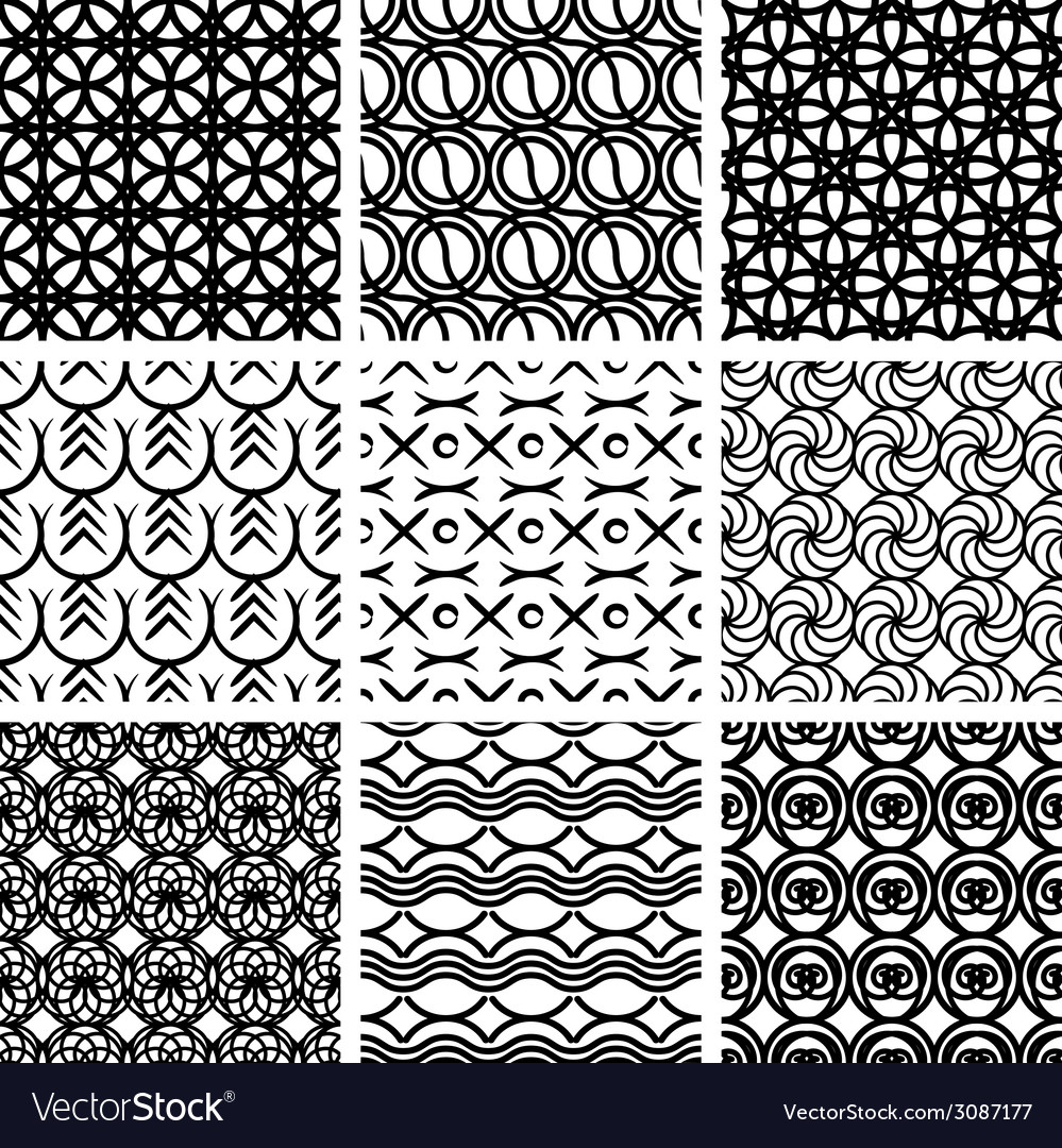 Seamless geometric patterns set vector | Price: 1 Credit (USD $1)