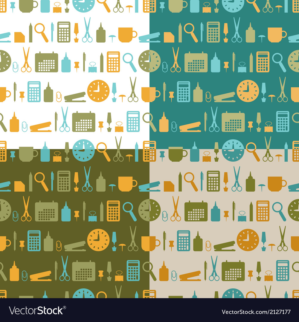 Set of seamless patterns of office stationery vector | Price: 1 Credit (USD $1)