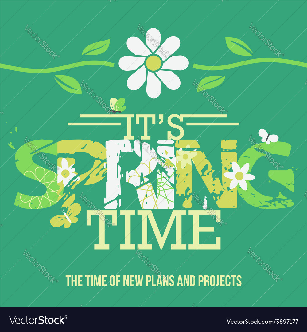 Spring time typographic poster vector | Price: 1 Credit (USD $1)