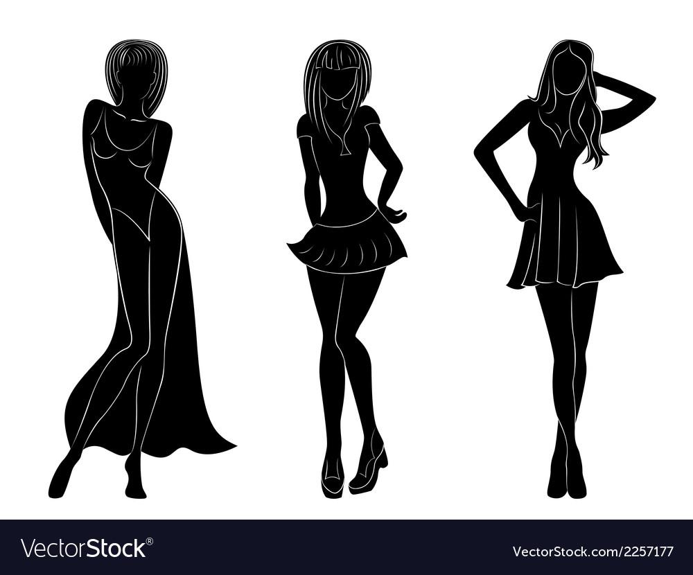 Three slim attractive women silhouettes vector | Price: 1 Credit (USD $1)