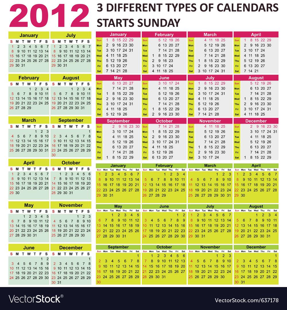 2012 calendars vector | Price: 3 Credit (USD $3)