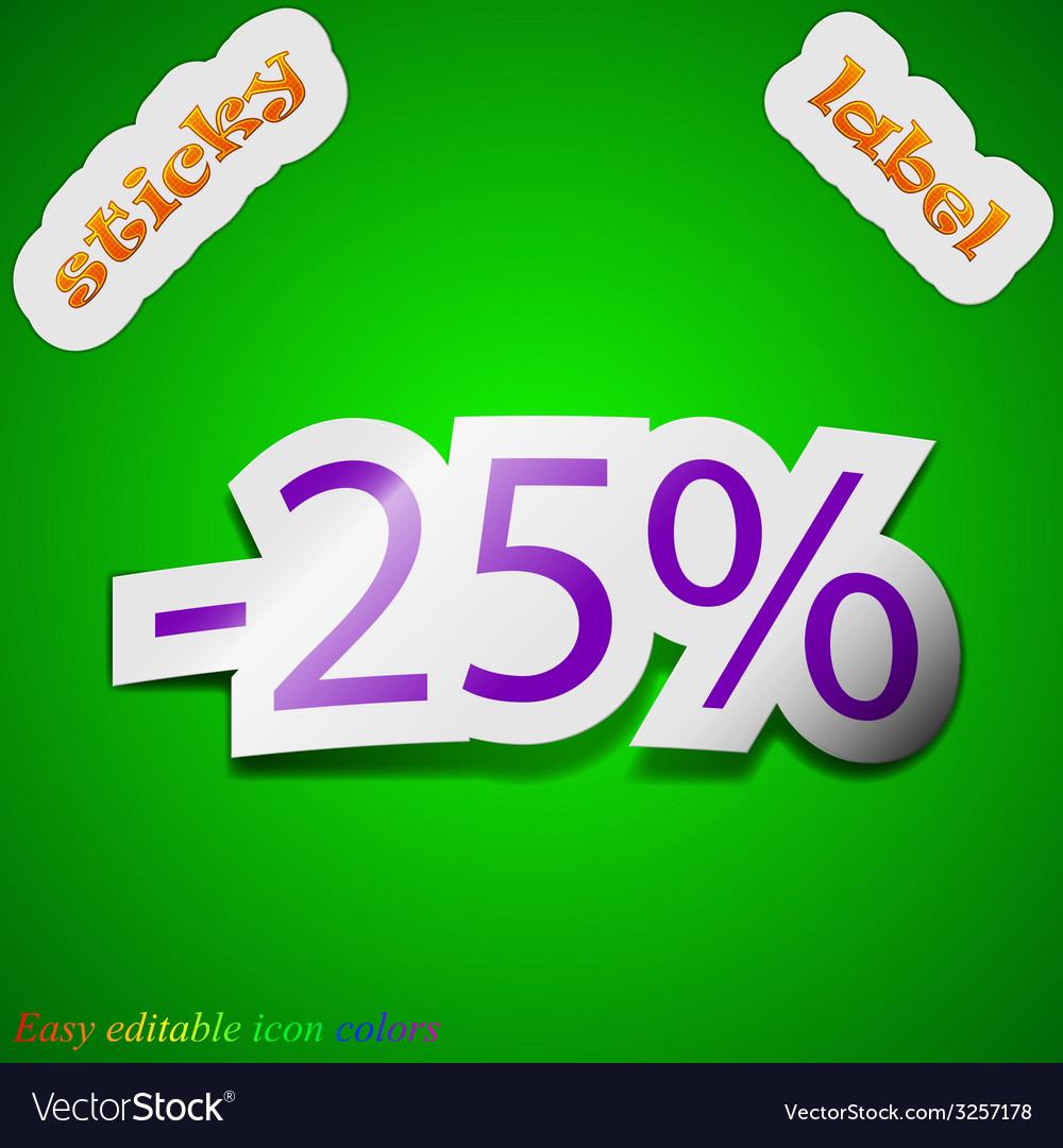 25 percent discount icon sign symbol chic colored vector | Price: 1 Credit (USD $1)