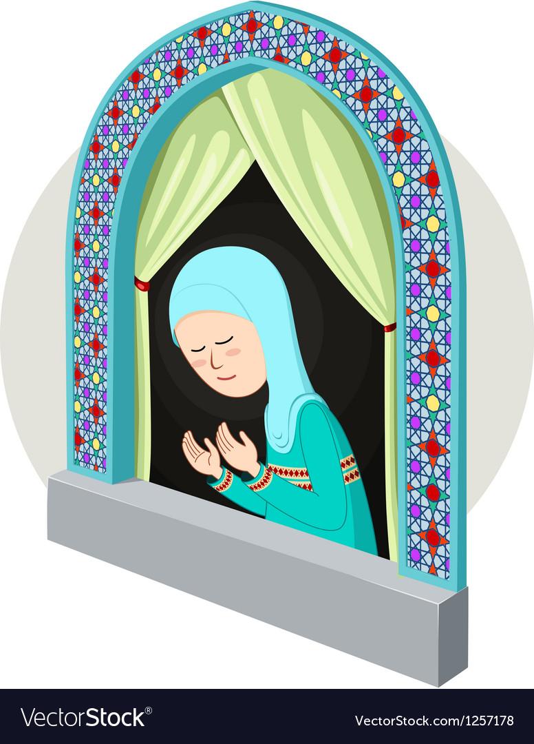 Arabic girl praying inthe window vector   Price: 5 Credit (USD $5)