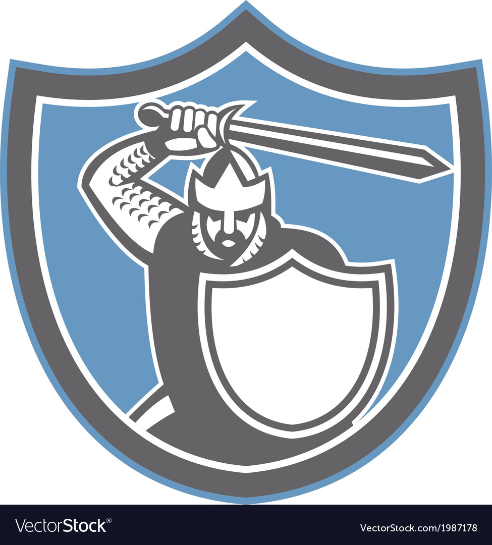 Crusader knight brandish sword shield retro vector | Price: 1 Credit (USD $1)