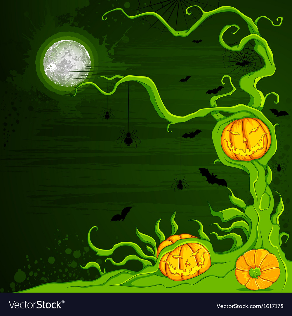 Halloween pumpkin tree vector | Price: 1 Credit (USD $1)