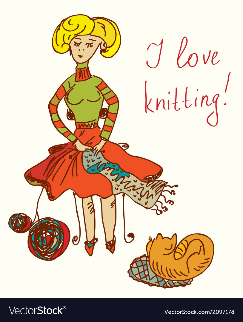 I love knitting card with funny woman vector | Price: 1 Credit (USD $1)