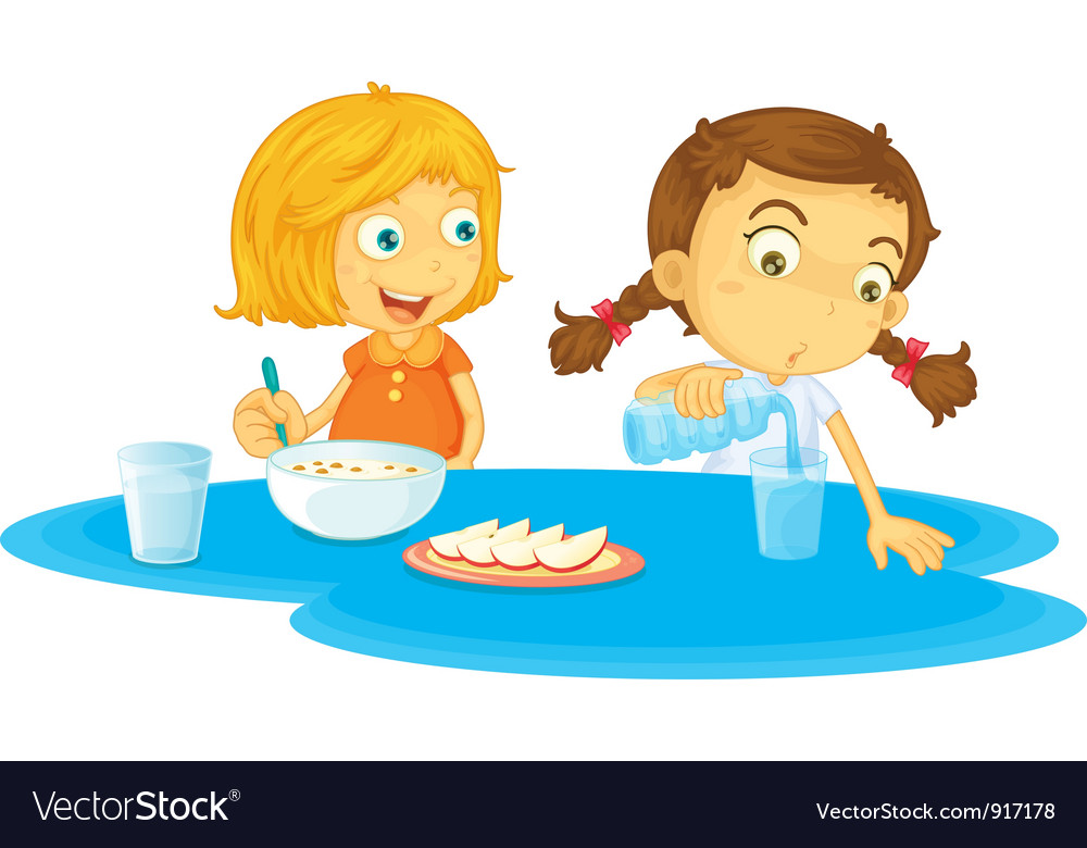Kids having breakfast vector | Price: 3 Credit (USD $3)