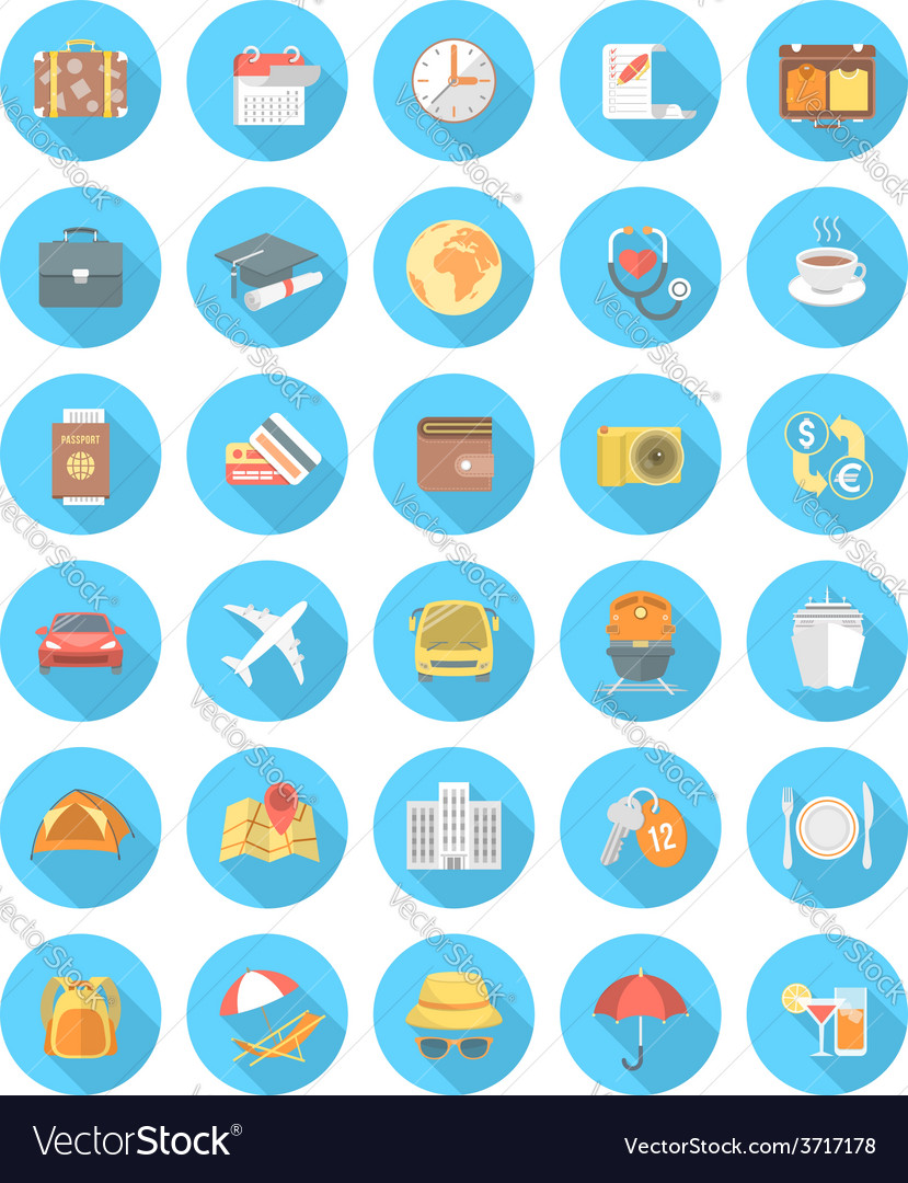 Modern flat traveling icons vector | Price: 1 Credit (USD $1)