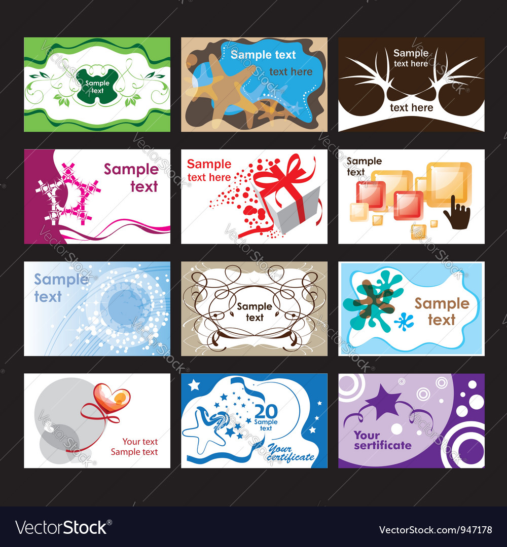 Set of business cards on different topics vector | Price: 1 Credit (USD $1)