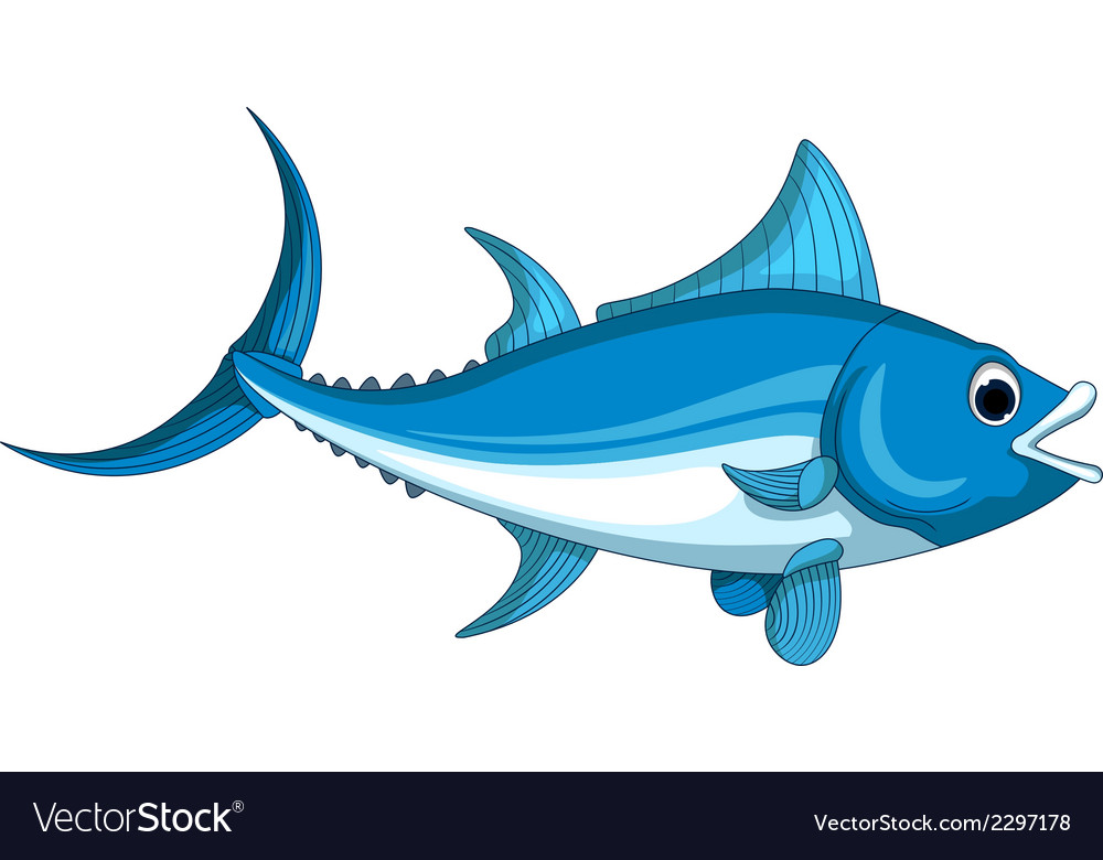 Tuna fish cartoon vector | Price: 1 Credit (USD $1)