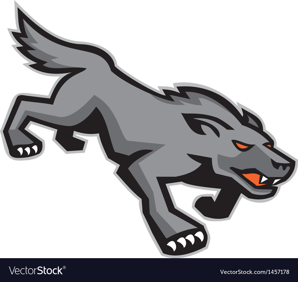 Wild dog wolf stalking retro vector | Price: 1 Credit (USD $1)