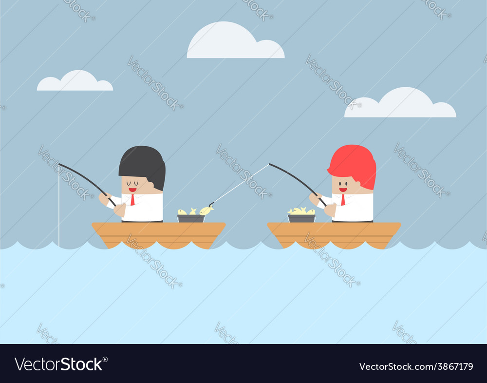 Businessman stealing fish from his friend vector | Price: 1 Credit (USD $1)