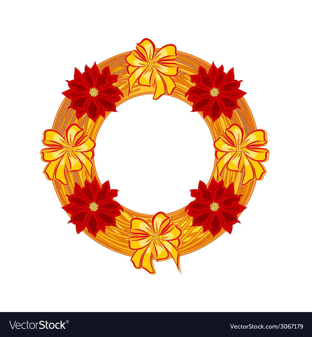 Christmas wearing straw wreath with poinsettia vector | Price: 1 Credit (USD $1)