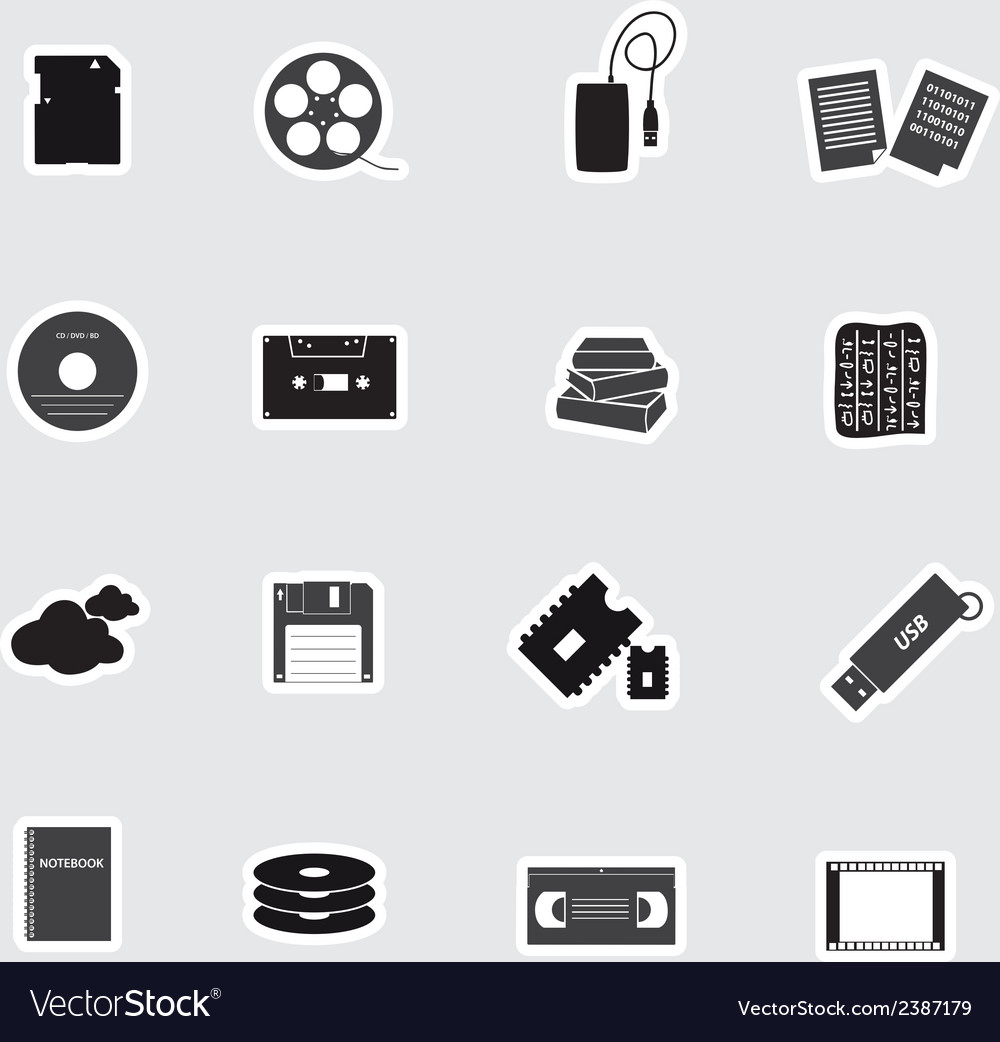 Data storage media stickers eps10 vector | Price: 1 Credit (USD $1)
