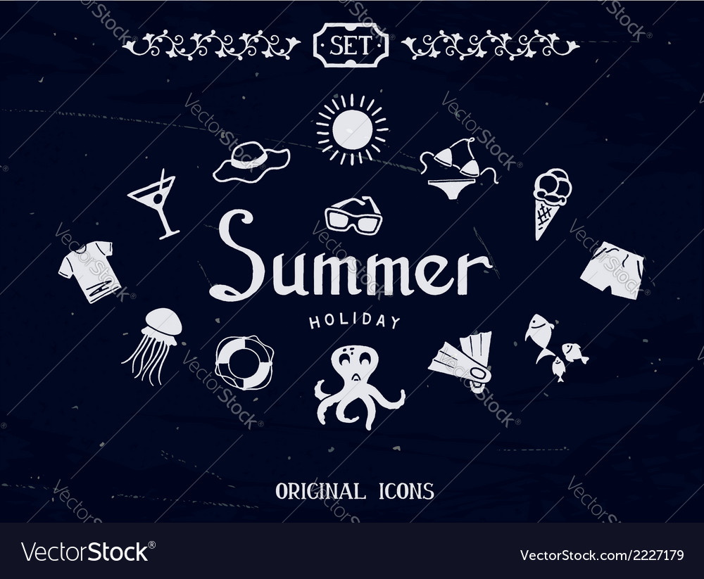 Drawing icons for summer vector | Price: 1 Credit (USD $1)