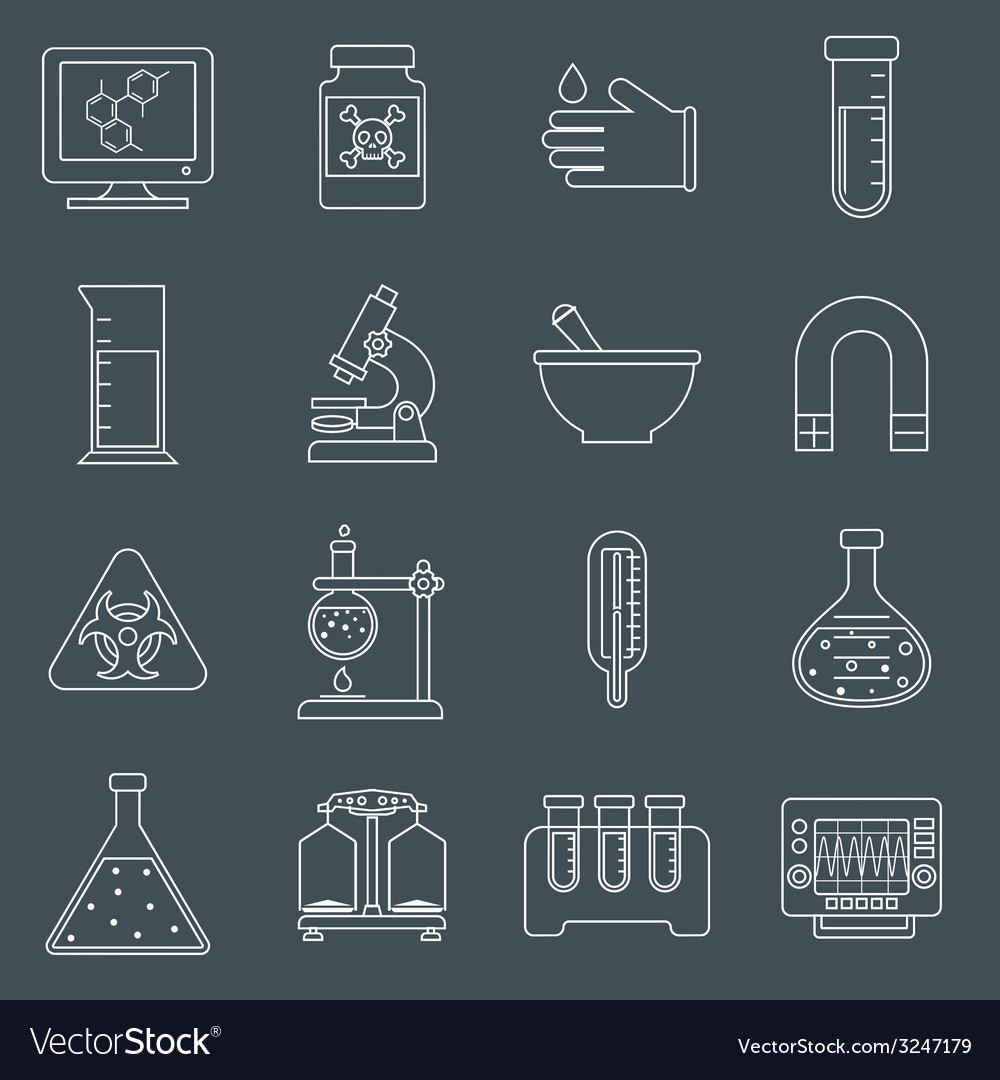 Laboratory equipment icons outline vector | Price: 1 Credit (USD $1)
