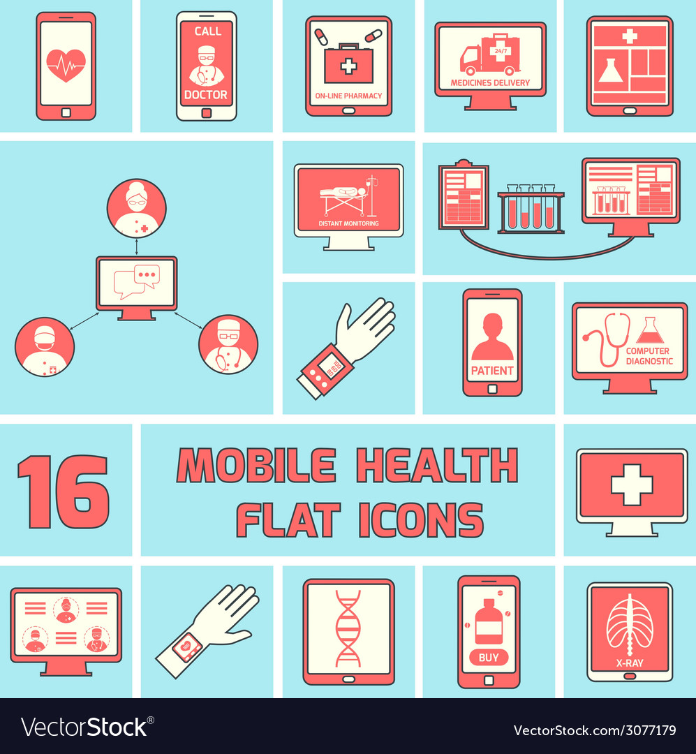 Mobile health icons set flat line vector | Price: 1 Credit (USD $1)