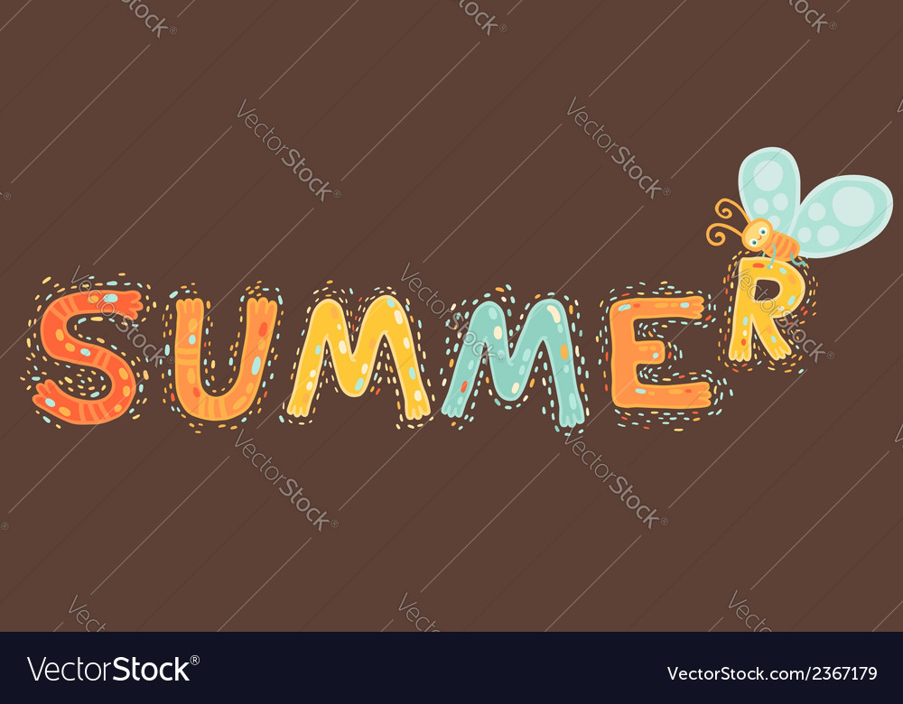 Summer cartoon text with butterfly vector | Price: 1 Credit (USD $1)