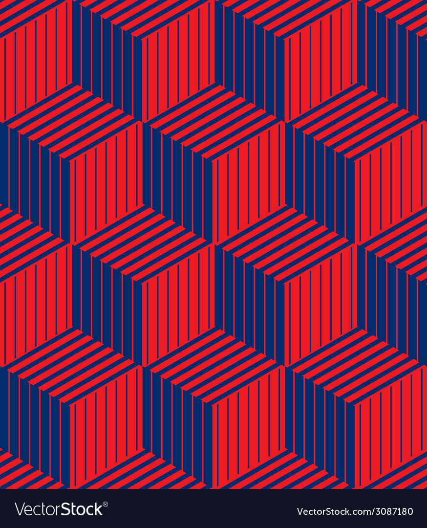 3d boxes geometric optical seamless pattern vector | Price: 1 Credit (USD $1)