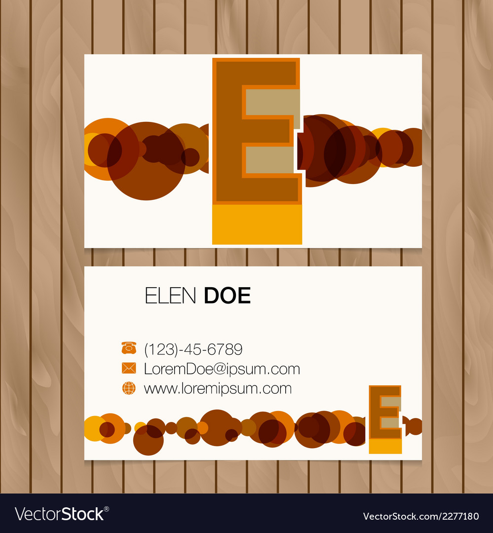 Business card with alphabet letter on a wood vector | Price: 1 Credit (USD $1)