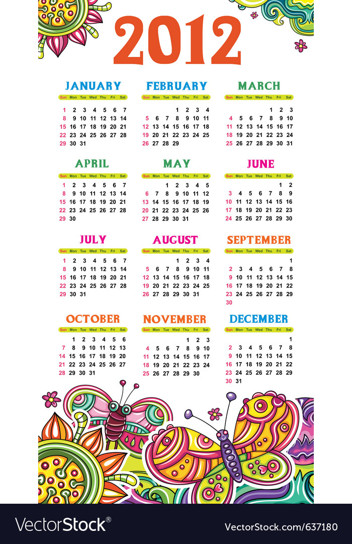 Calendar butterfly 2012 vector | Price: 3 Credit (USD $3)