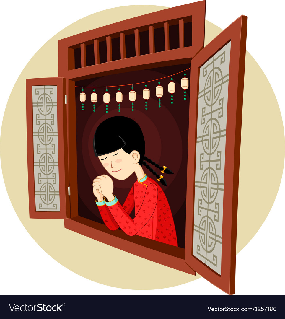 Chinese girl praying in the window vector | Price: 5 Credit (USD $5)
