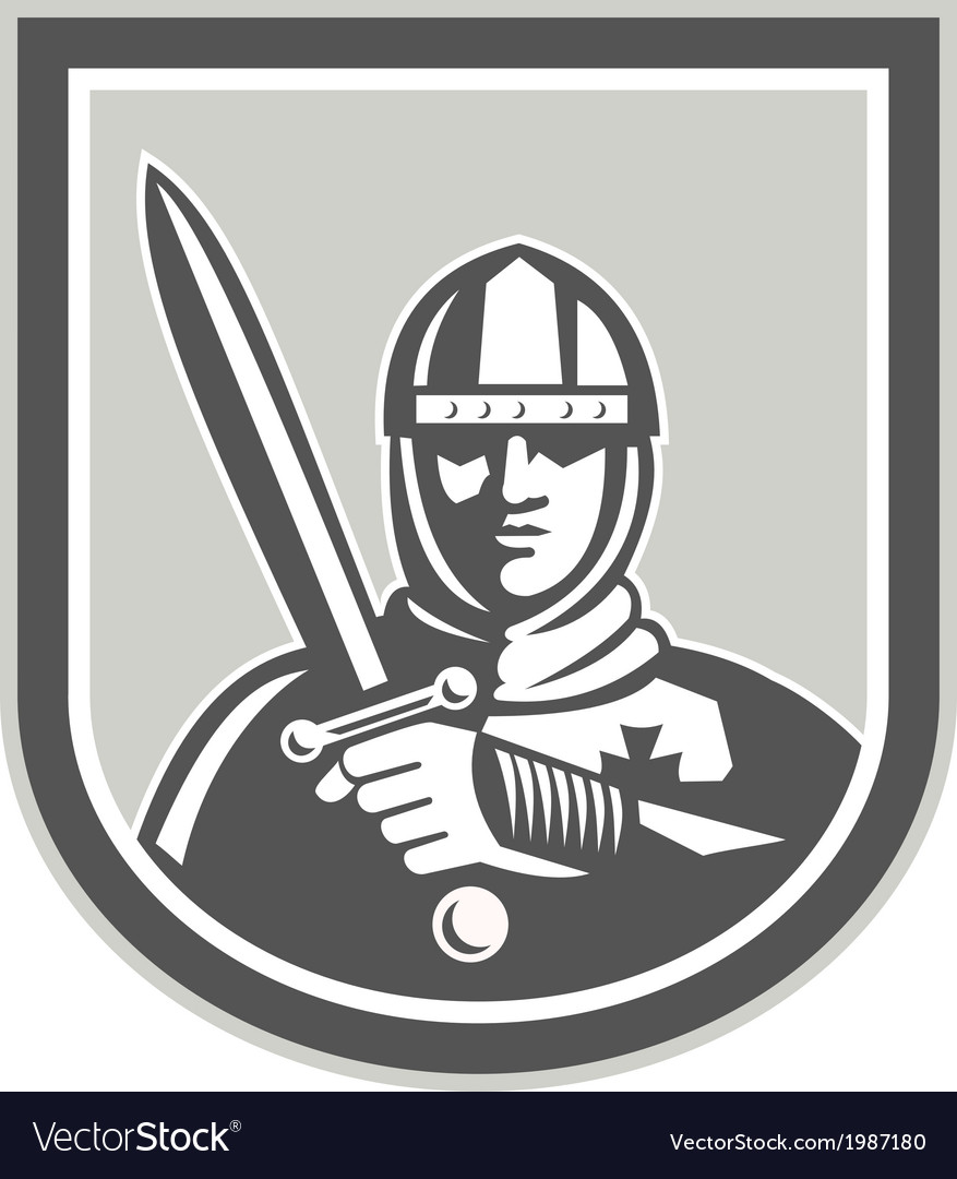 Crusader knight with sword front crest vector | Price: 1 Credit (USD $1)
