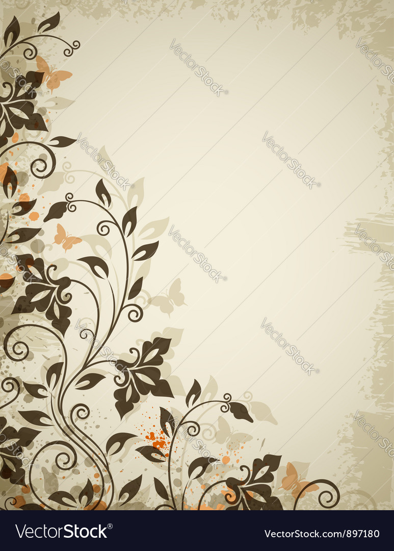Floral background old vector | Price: 1 Credit (USD $1)