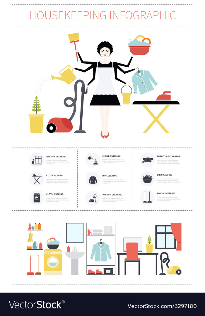 Housecleaning infographic vector | Price: 1 Credit (USD $1)