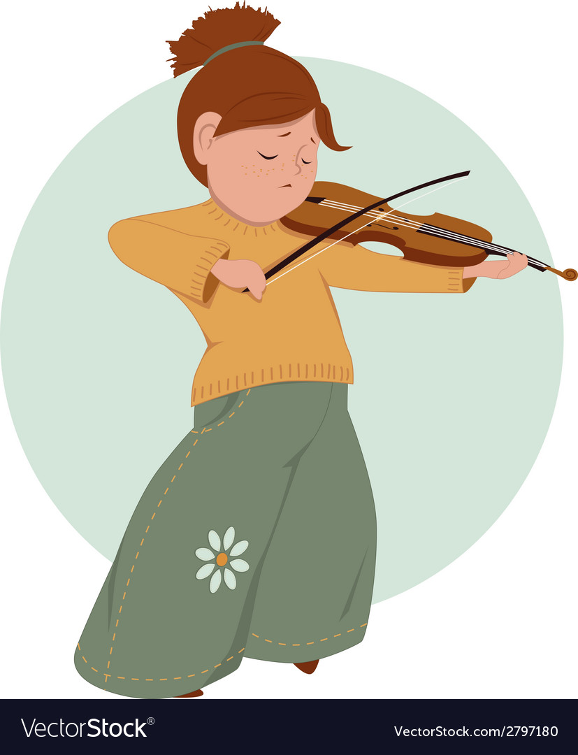 Little girl playing violin vector | Price: 1 Credit (USD $1)