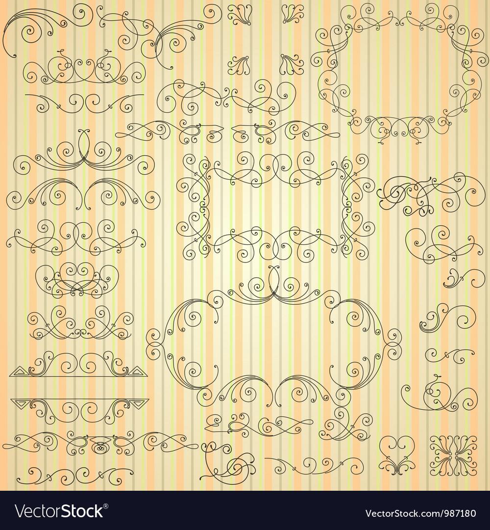 Set of calligraphic swirls for design vector | Price: 1 Credit (USD $1)