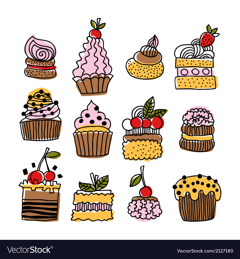 Set of hand drawn doodle cakes desserts vector | Price: 1 Credit (USD $1)