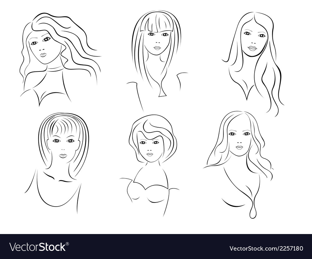 Six beautiful young women portraits vector | Price: 1 Credit (USD $1)