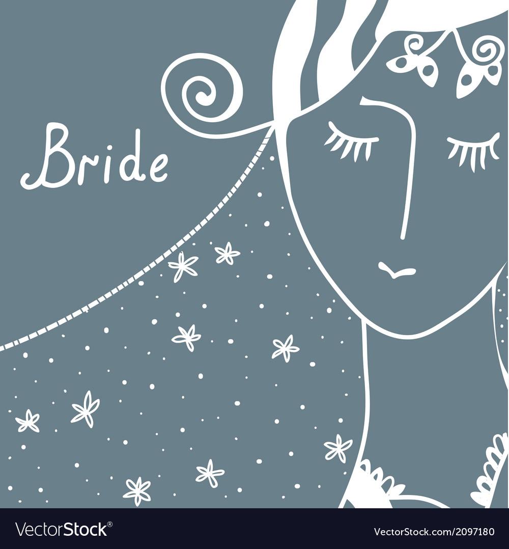 Wedding invitation with bride vector | Price: 1 Credit (USD $1)