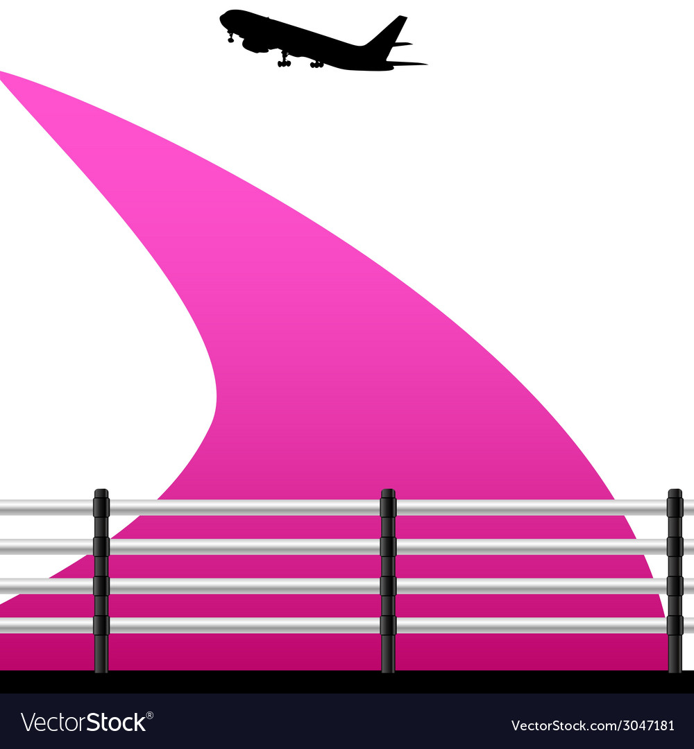 Airport with a plane on a color vector | Price: 1 Credit (USD $1)
