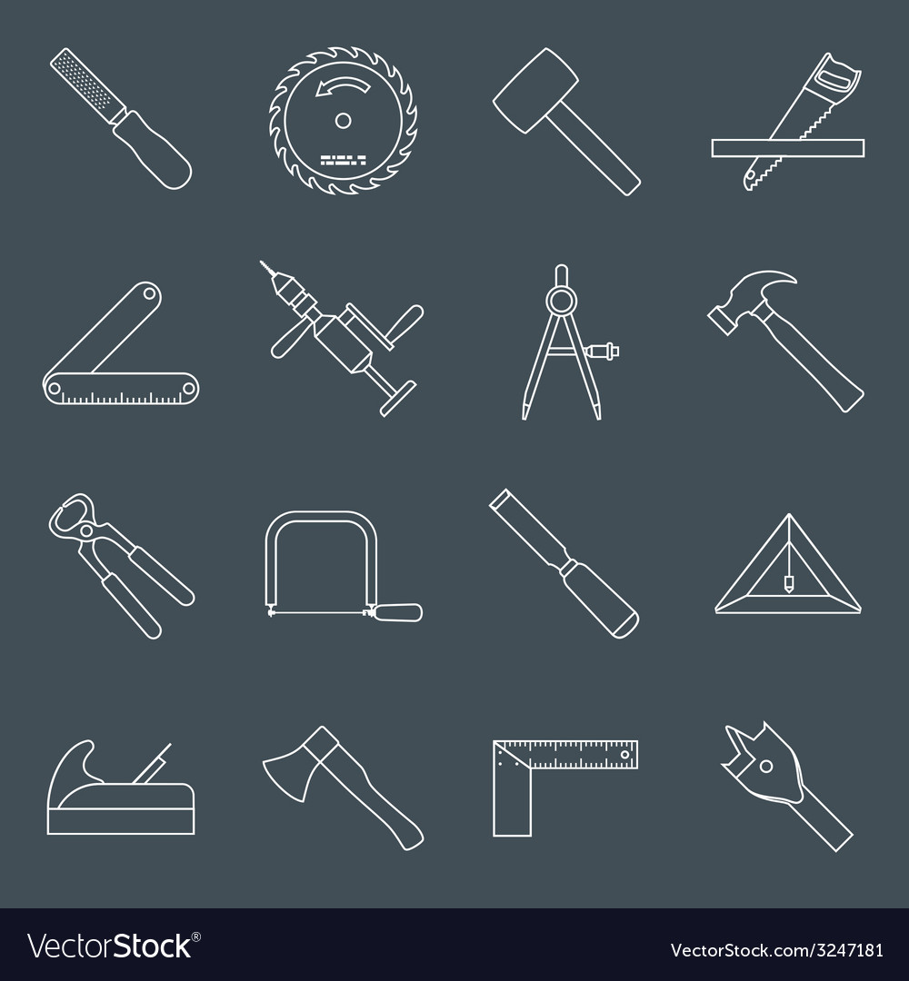 Carpentry tools icons outline vector | Price: 1 Credit (USD $1)