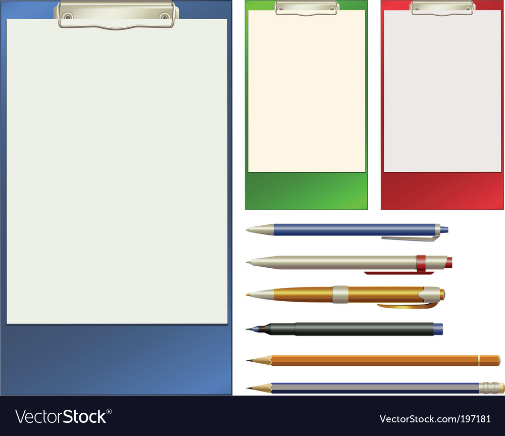 Clip pad and pens vector | Price: 1 Credit (USD $1)