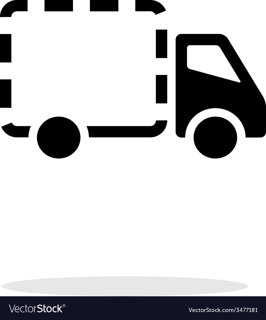 Empty delivery truck icon on white background vector | Price: 1 Credit (USD $1)