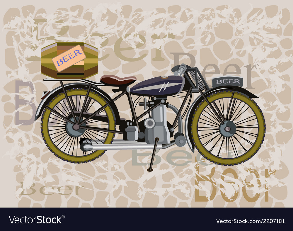 Motorcycle and a keg of beer vector | Price: 1 Credit (USD $1)