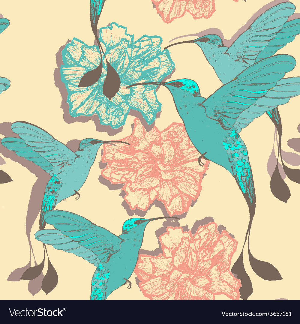 Seamless pattern with colibri birds and flowers vector | Price: 1 Credit (USD $1)