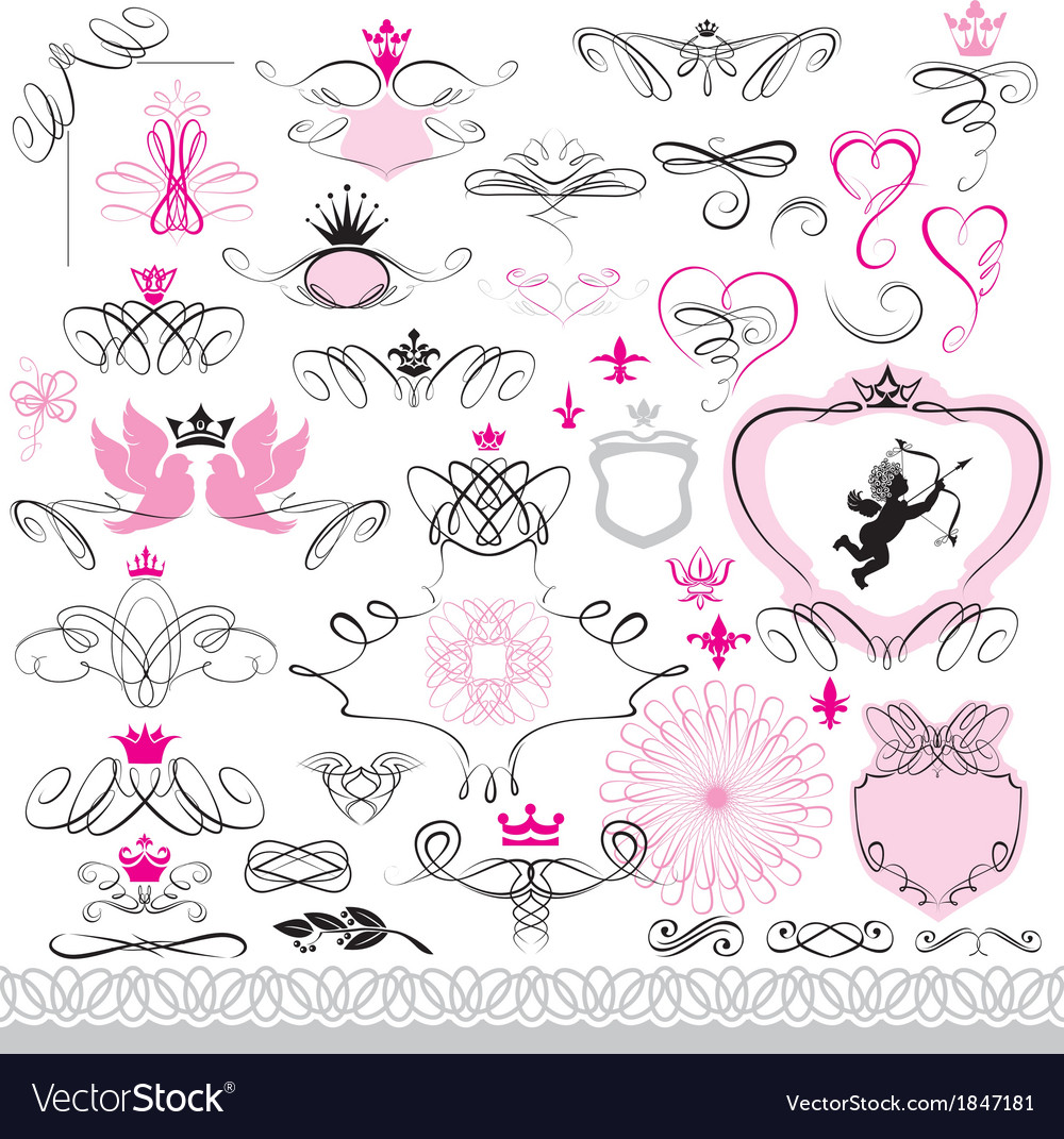 Set of calligraphic design elements and page decor vector   Price: 1 Credit (USD $1)