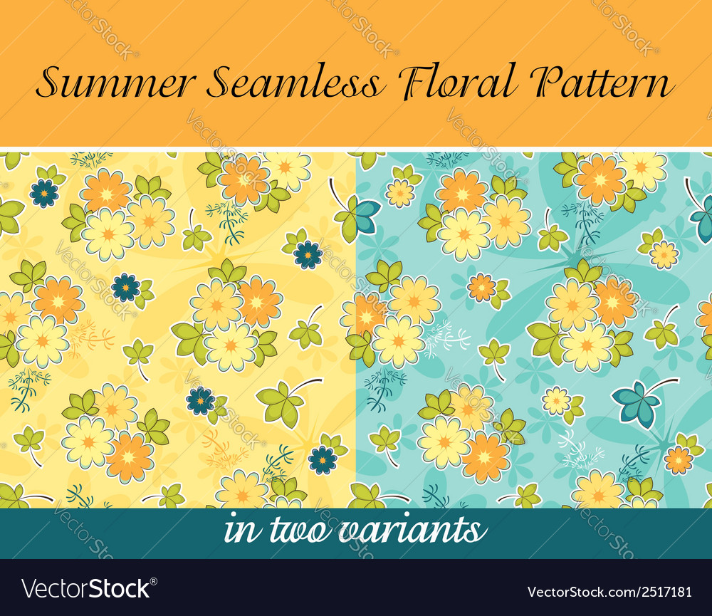 Summer seamless floral pattern vector | Price: 1 Credit (USD $1)