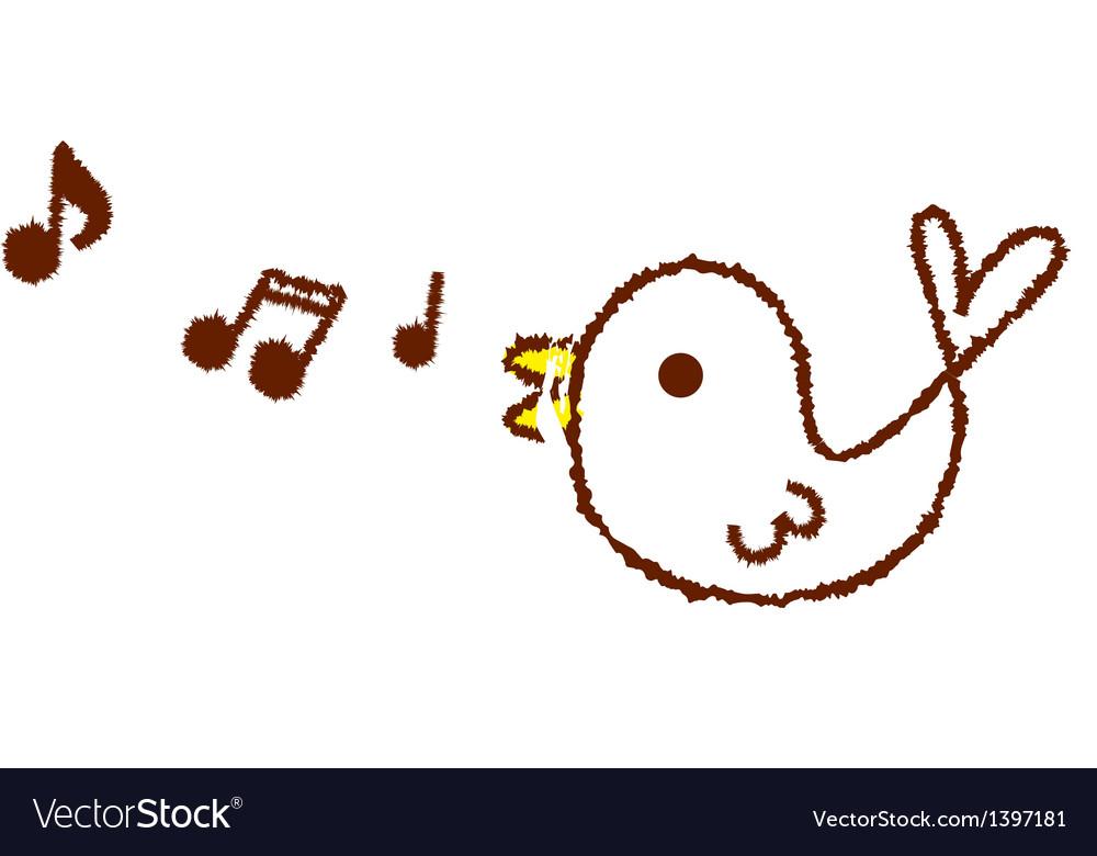 Tweeting singing bird vector | Price: 1 Credit (USD $1)