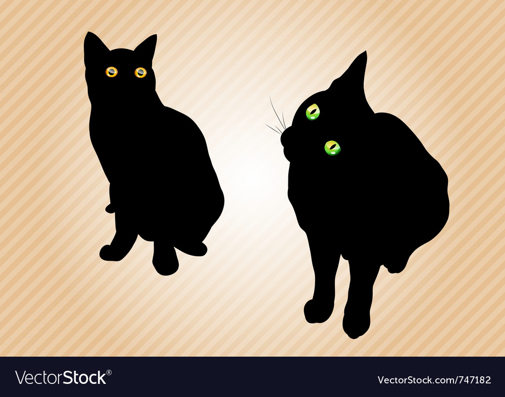 Black cats on the background vector | Price: 1 Credit (USD $1)