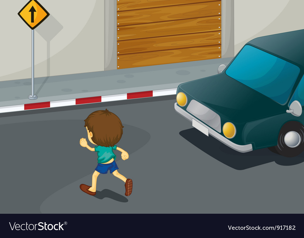 Boy crossing road vector | Price: 3 Credit (USD $3)